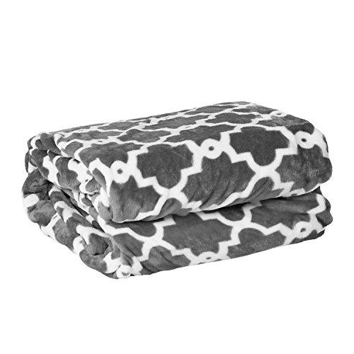 SpodIglyINitki Maroko Decke Kuschelweich Sanft Flauschig Wohndecke Microfaser, Grau,200X220