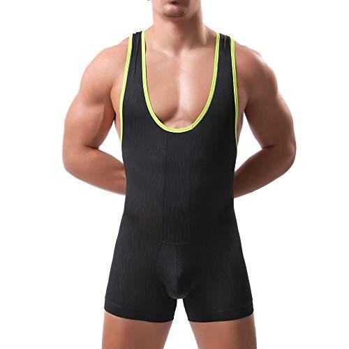 t Unterwäsche Muskel Shirt Jumpsuit Unterhemd Sexy Boxershorts Fitness Tanktops Ärmellos Sommer Kurz Erotik Dessous Set ()