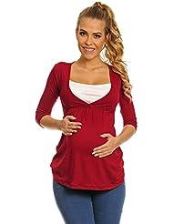 Happy Mama Femme. Top de maternité. T-shirt d'allaitement effet cache-coeur. 372p