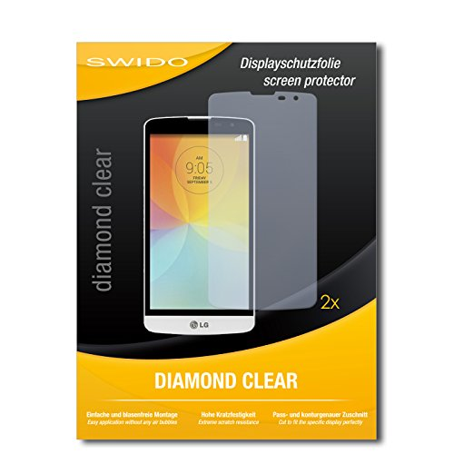 SWIDO 2 x Bildschirmschutzfolie LG L Bello Schutzfolie Folie DiamondClear unsichtbar