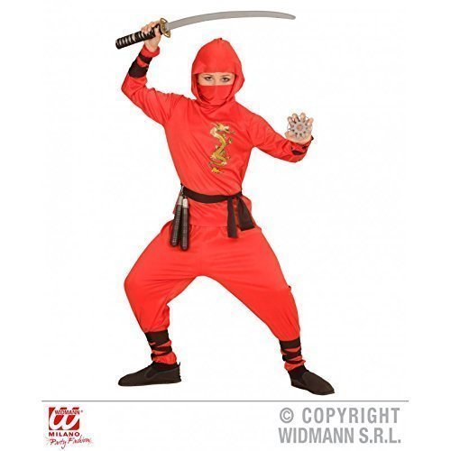 Dragon Kind Ninja Kostüm - Lively Moments Einfaches Ninjakostüm / Kinderkostüm Red Dragon Ninja für Kinder Kostüm Gr. 140 = M