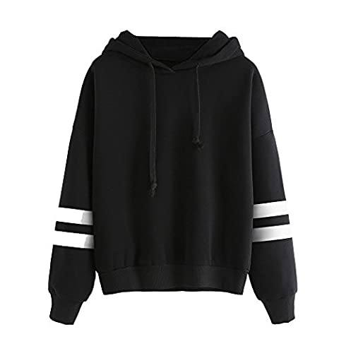 Tonsee Femmes de Long Hoodie Sweatshirt pull Pullover Tops Blouse à manches (S, Noir)