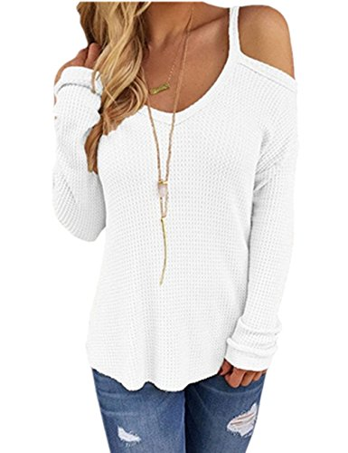 Ninimour Damen Schulterfrei Lose Knitted Sweater Top Blouse (L, Weiß)