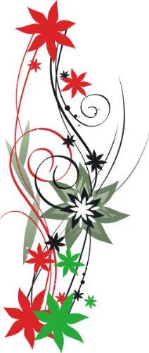 T-Shirt E118 Schönes T-Shirt mit farbigem Brustaufdruck - Logo / Comic - florales Design / Rankentribal mit schönen Blüten Schwarz