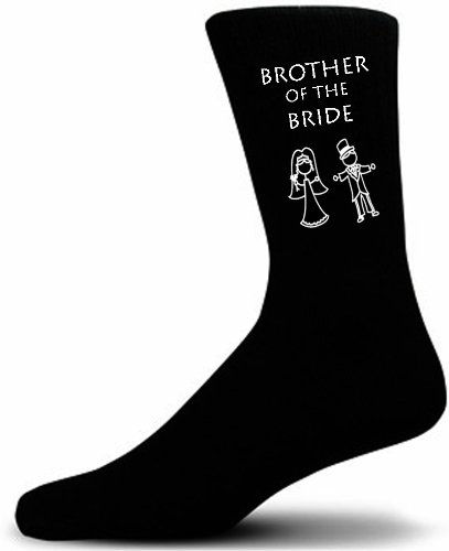 Cute Wedding Figures, Brother of the Bride Black Wedding Socks. Adult size UK 6-12 Euro 39-49