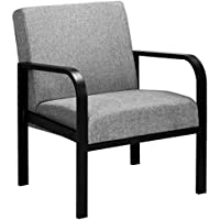 WOLTU Lounge Sofa Armchair Grey with Steel Legs for Bedroom Living Room Lounge Reception