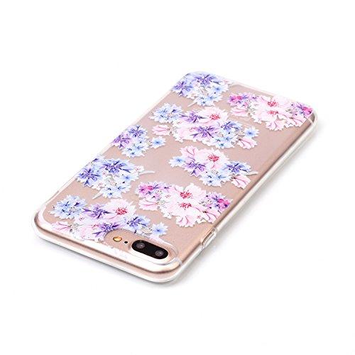 iPhone 8 Plus Hülle,iPhone 7 Plus Hülle,Schutzhülle iPhone 8 / iPhone 7 Plus Silikon Hülle,ikasus® TPU Silikon Schutzhülle Case Hülle für iPhone 8 Plus / 7 Plus,Durchsichtig mit Blumen Rebe Schmetterl Bunte Blumen