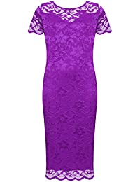 7205abe60f2 WearAll Plus Size Womens Lace Lined Ladies Short Sleeve Bodycon Midi Dress  - 14-28