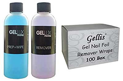 Salon System Gellux UV Gel Prep Plus Wipe and Remover Acetone 125ml + 100 Box Gellis Gel Polish Foil Remover Wraps