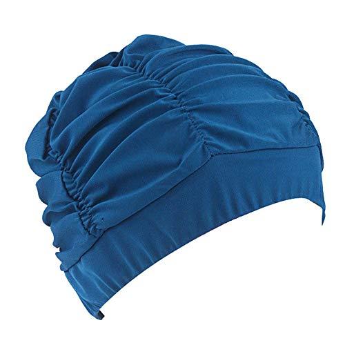 Schwimmkappe Damen Schwimmen Hut Frauen Unisex Mädchen Lange Haare Badekappe Elastic Stretch Drape für Sommer Strand Pool(Blau,Free)
