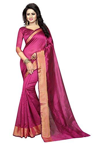 KanishaTrendz Women's Cotton Polyester Silk Plain Party Wear Saree With Blouse Piece