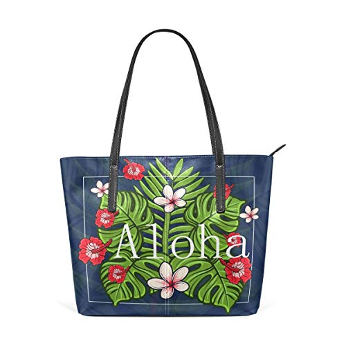 jhin Womens Purse Hawaii Aloha With Tropical Flowers PU Leather Shoulder Tote Bag Umhängetasche Backpack Ladies Travel Shopping Bags