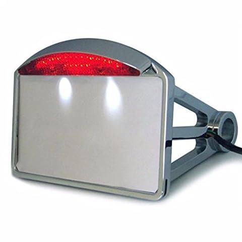 LEAGUE&CO Schwarz Chrome Seitliches Kennzeichen Halterung Kennzeichenhalter mit LED Beleuchtung für Harley Davidson CHOPPER (seitlich, Chrome)