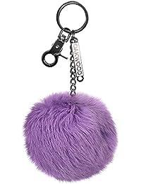 Oakwood Zita Piel Pom Pom llavero púrpura