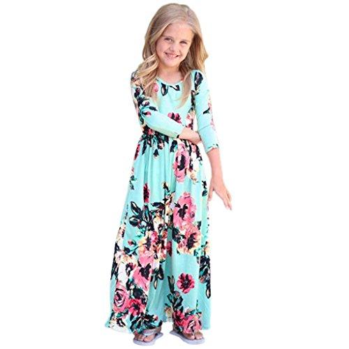 Herbst mädchen Kleid URSING Kinderkleidung Einzigartig Übergang Tüllkleid Langarm Abendkleider Kindermode Mädchenröcke Outfits Kleidung chic Mädchenkleider drucken charmant Trägerkleid (blau, 100)