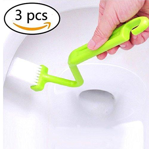 3 Stück Gebogene (WC Bürsten Gebogene Kunststoff Toilettenbürste reinigen Toiletten Corner (3 Stücke))