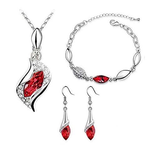 Sunnywill 1SET Frauen Halskette Anhänger Tropfen Ohrringe Armband Schmuck für Damen Mädchen