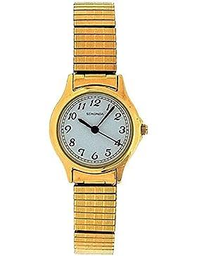 SEKONDA 4134B Analoge Damenarmbanduhr mit weißem Ziffernblatt und vergoldetem Stretch-Armband