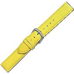 Herzog Uhrenband Beach Kalbleder Gelb Bandanstoss 18 mm Medium