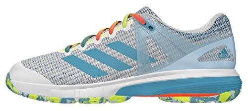 adidas Court Stabil 13, Chaussures de Handball Femme Blanc (Ftwr White/Vapour Blue/Solar Yellow)