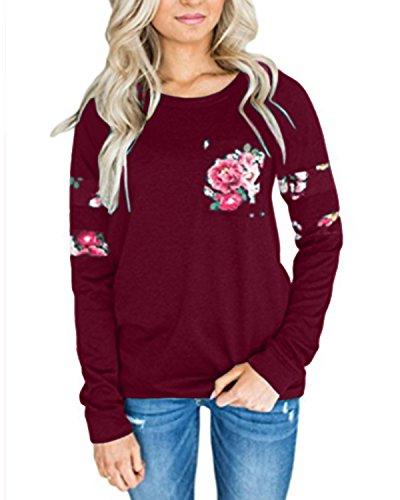 StyleDome Damen Sweatshirt Langarm O Ausschnitt Floral Jumper Oversize Refashion Tops Weinrot 2XL