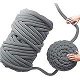 halonzhor Gesponnene Wolldecke-Kern-Garn-Runde Stoff-Grobe Linie, die DIY Wolle Hand Stricken Häkeln Weben Teppich Machen, 25m/60m Wolldecke (Dunkelgrau)