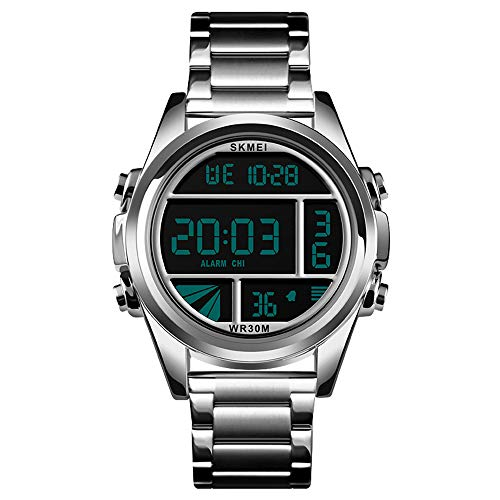 Xiang Qian Zhang Armbanduhr männer,Sportuhren Herren,LED-Uhr Männer alle Stahl Herrenuhr Herren Digitaluhr Herren Sport Wasserdichte UH