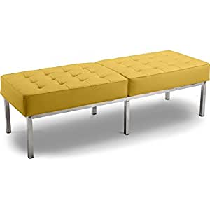 Banc Knoll (3 places) - Style Florence Knoll - Simili Cuir Jaune