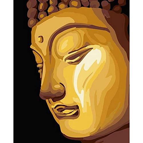 DIY Ölgemälde Malen nach Nummer Kit für Kinder Erwachsene Anfänger 40 x 50 cm Goldene Buddha-Statue Zeichnen mit Pinsel Weihnachtsdekor Dekorationen Geschenke (Kein Rahmen)