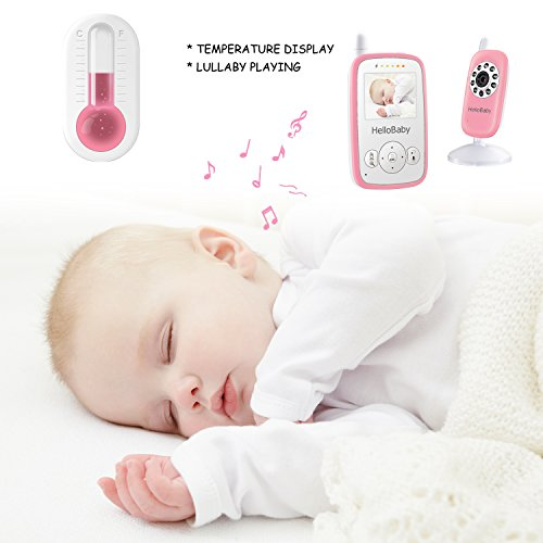 HelloBaby HB24 2.4 Inch Wireless Video Baby Monitor with Digital Camera, Night Vision Temperature Monitoring & 2 Way Talkback System UK Plug, White&Pink