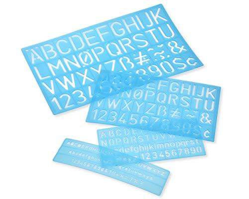 chriftzug Schablone Alphabet Schablone Buchstaben Nummer Handwerk Kunststoff Dekorative Schablonen Linealhilfslinien Set - Blau ()