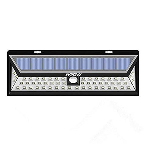 Mpow Lampe solaire 54 LED extérieure étanche IP65 sans fil 800 lumens Luminaire exterieur/ Spot exterieur 120 ° Grand Angle reglable avec détecteur de mouvement et Paneau Solaire pour Pati, jardin, cour, chemin,escaliers, clôture
