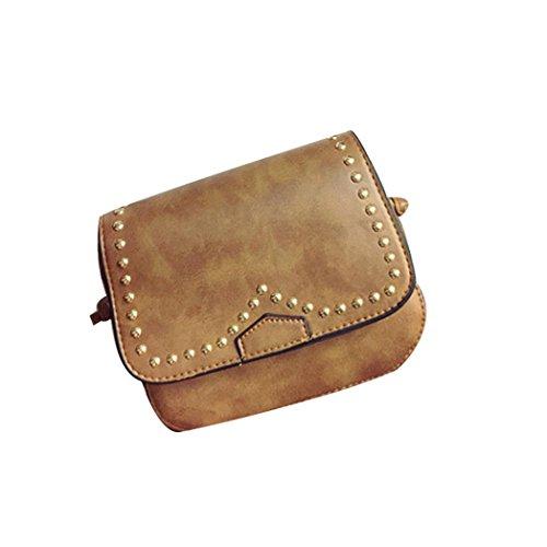 Donne solide Fashion PU Borsa in pelle borsetta Tote signore borsa di Kangrunmy Caffè