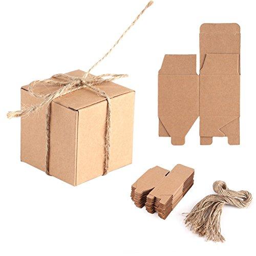 OKBY Kraftpapier Box - 50 STÜCKE Braun Kraftpapier Platz Hochzeit Gunsten Süßigkeiten Schokolade Geschenk Party Supply Boxen Kraft Kissen Box