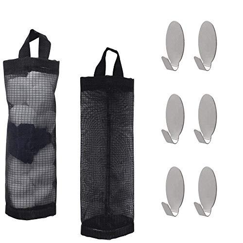 SelfTek 2 piezas de bolsa de abarrotes dispensador colgando almacenamiento bolsa de malla plegable con 6 piezas ganchos