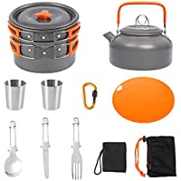 yidenguk Kit de Utensilios Cocina Camping, Juego de Cocina al Aire Libre de Aluminio Antiadherente para 2 a 3 Personas, para Viajes con Mochila y Senderismo