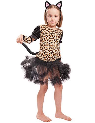 Kinder Und Mädchen Kostüm Leoparden Kleinkind Kleine - A&J DESIGN Kleinkind Mädchen Leopard Kleid Outfit Kostüm (Schwarz, Small)