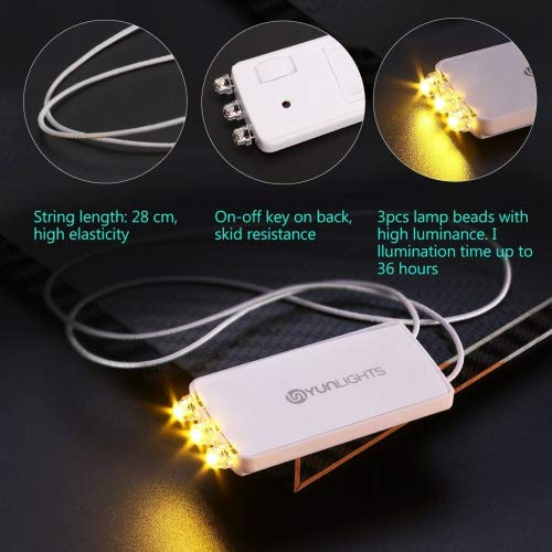 YUNLIGHTS Mini LED Bombillas Luz de fiesta con 3 LED Blanco Cálido para lamparas de papel, Globos, Impermeable (10 piezas)