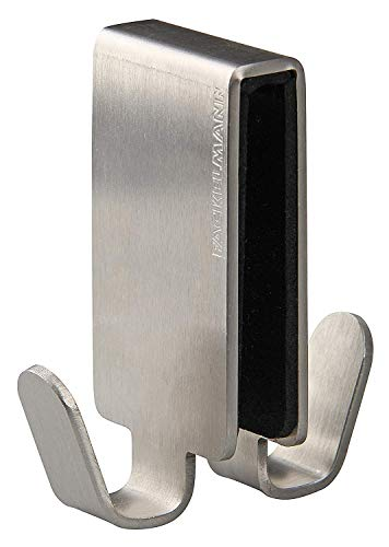 Fackelmann 61238 - gancio doppio per vetro della doccia, spessore: 0,6 - 0,8 cm, in acciaio inox, colore argento