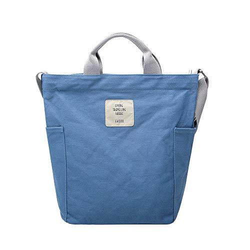 Gindoly Casual Handtasche Damen Canvas Chic Schultertasche Damen Henkeltasche Schulrucksack Große umhängetasche Tasche Blau EINWEG (Canvas Camping Tasche)