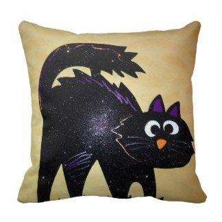 Jtartstore Gato negro de Halloween Cojin 18 x 18 inches