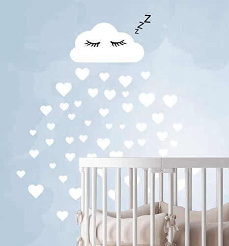 60 Teile Wolken mit Gesicht Wandtattoo Kinderzimmer Set - Rauhfaser Wandsticker Pastell Farben Baby Tapete Sticker zum Kleben, Wandaufkleber Sleepy Eye Wanddeko, Wandfolie, Kleinkinder, Mädchen Weiß