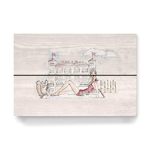 artboxONE Holzbild 30x20 cm Fashion Ich und Das Grand Hotel von Künstler Nadja König
