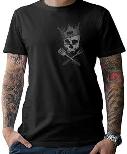 NG articlezz Herren T-Shirt BBQ Skull - für die Griller unter Euch. Mit Front- und Rückenprint Shirt