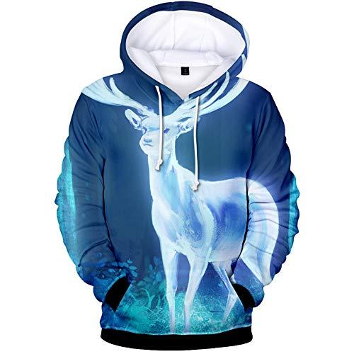 QMKJ Unisex Deer 3D Prints Pullover Winter Hoodie Sweatshirt Hooded Wool Fleece Lightweight with Adjustable Hood Front Pockets for Mens Great for Walking Jogging,XS -