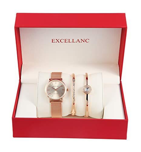 Excellanc Damen - Schmuckset Analoge Damenuhr und zwei Schmuck Armbänder 1800154 (Roségoldfarbig/Silberfarbig)