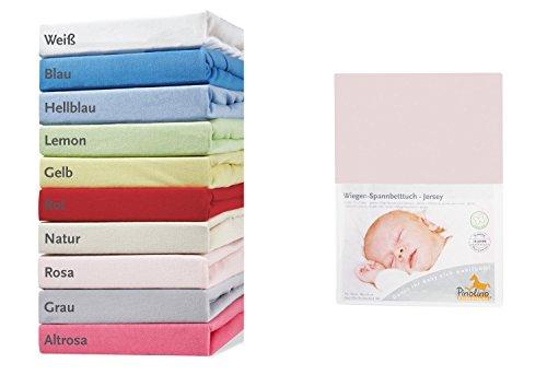 Pinolino 540004-7 - Spannbetttuch für Wiegen, Jersey, rosa