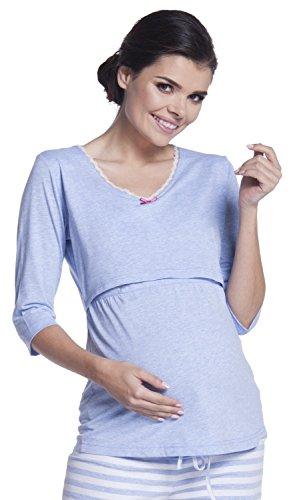 Zeta Ville - Umstands Lagen-Still-Pyjama 3/4 Ärmel Streifenmuster - Damen - 394c (Hellblau, EU 44/46, 2XL)