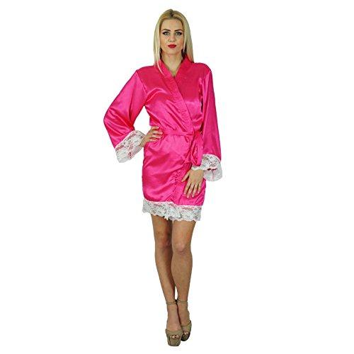 Bimba femmes manches kimono en satin courte Robe Préparation mariée demoiselle d'honneur dentelle Robes Coverup Rose