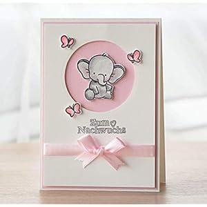Glückwunschkarte zur Geburt, Karte zur Geburt eines Mädchens, Babykarte, Klappkarte 10,5cm x 14,8cm, mit Briefumschlag, handgefertigt